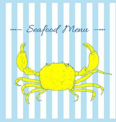 Seafood hand drawn sketch of crab vector