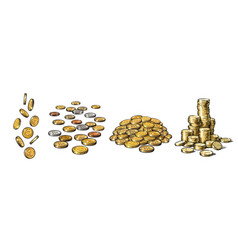 set gold coins in different positions falling vector image