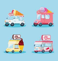 Set ice cream shop vans vector