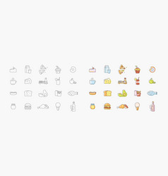 set icons about kitchen vector image