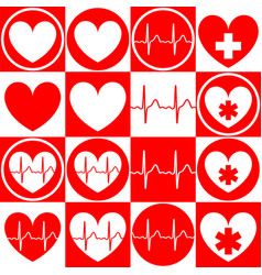 set medical emblems with image heart vector image