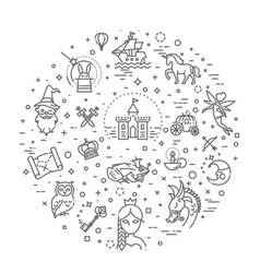 simple set fantasy related line icon vector image