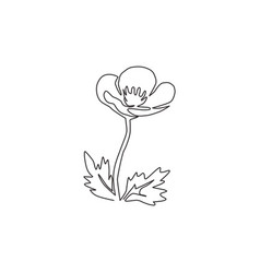 Single one line drawing beauty fresh viola hybrid vector