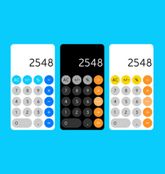 Smartphone calculator app interface mobile vector