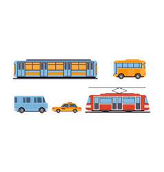 subway bus tram taxi public city and intercity vector image