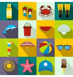 Summer icons set flat style vector