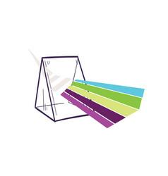 Triangular prism dispersing light beam or rainbow vector