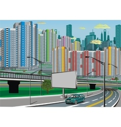 Urban landscape - road in city metropolis vector