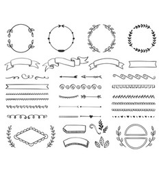 variety retro decoration elements vector image