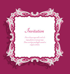 vintage square frame with lace border pattern vector image