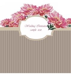 Vintage watercolor spring peonies flower card vector