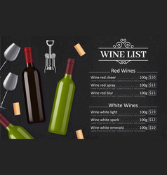 wine list menu alcohol drinks vector image
