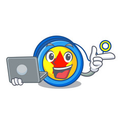 With laptop yoyo character cartoon style vector