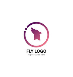Wolf logo template design wolf logo with modern vector