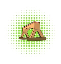 Wooden bridge icon comics style vector