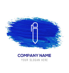 Writing pen icon - blue watercolor background vector