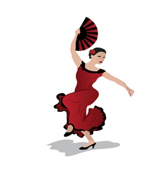 young woman dancing flamenco vector image