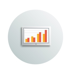 Detailed modern led tv hanging monitor with chart vector image vector image