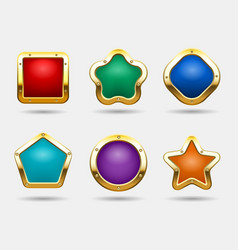 golden game buttons isolated on white background vector image