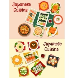 Japanese cuisine seafood sushi icon set vector image