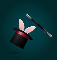 rabbit in magic hat and wand circus performance vector image vector image