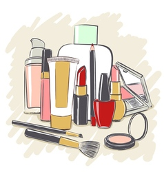 Set of cosmetics products for makeup vector image vector image