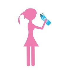 Silhouette girl bottle water hydrant vector