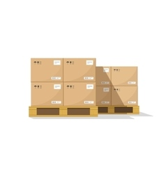 Warehouse parts boxes on wooden pallet vector image