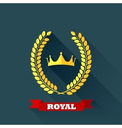 with laurel wreath and crown in flat design with vector image vector image