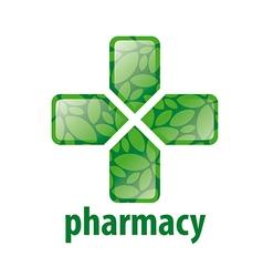 abstract green logo cross for pharmacy vector image