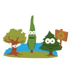 Funny Trees Holding A Recycling Sign vector image