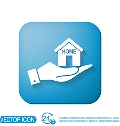 hand holding a House icon Home sign vector image