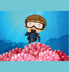 scuba diver diving under the ocean vector image