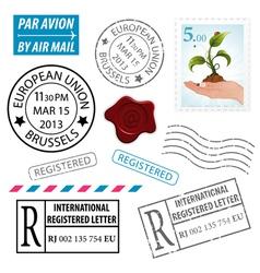 Set postage stamps vector