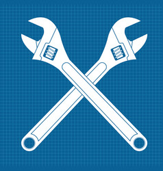 Adjustable wrench crossed white icons on vector