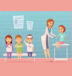 children visit pediatrician composition vector image vector image