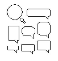 pixel speech bubble set mosaic dialog boxes vector image vector image