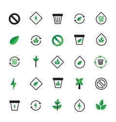 Set of black green ecology icons Ecological vector image vector image