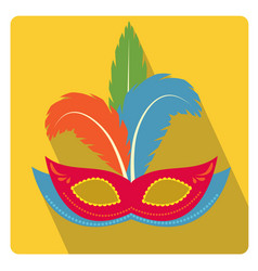carnival mask with feathers icon flat style with vector image