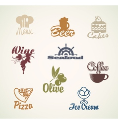 food and drinks signs vector image