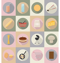 Food objects flat icons 20 vector