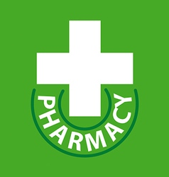 logo cross for pharmacy on a green background vector image vector image