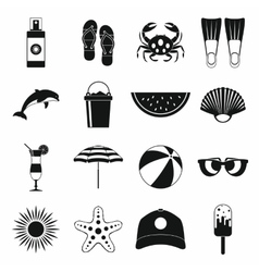 Summer icons set simple style vector image