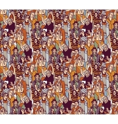 Woman crowd big group color seamless pattern vector image