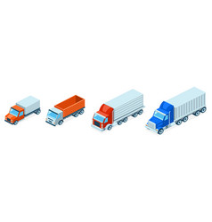 3d isometric trucks lorries shipping vector image