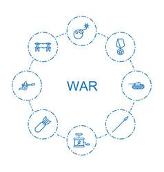 8 war icons vector
