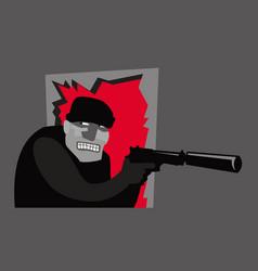 An armed robber breaks down door vector
