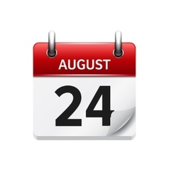 August 24 flat daily calendar icon Date vector
