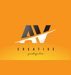Av a v letter modern logo design with yellow vector