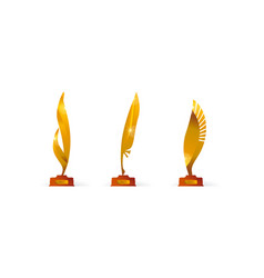 Award price gold symbol set in feather vector